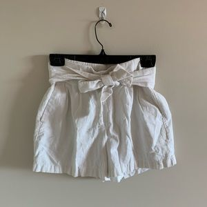 Dynamite White Paper Bag Tye Up High Rise Shorts